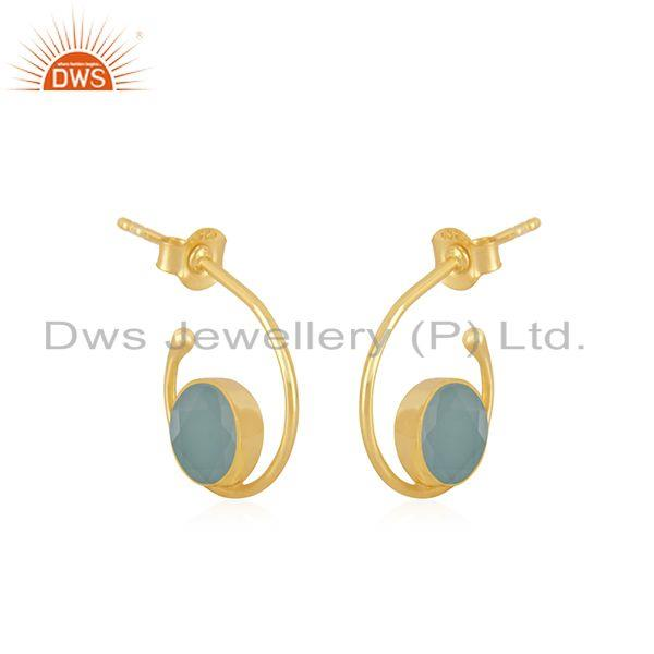 Exporter New Arrival Gold Plated 925 Silver Aqua Chalcedony Gemstone Hoop Earring