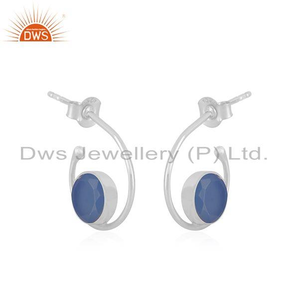 Exporter Blue Chalcedony Sterling 925 Silver Handmade Hoop Earring for Girls Jewelry