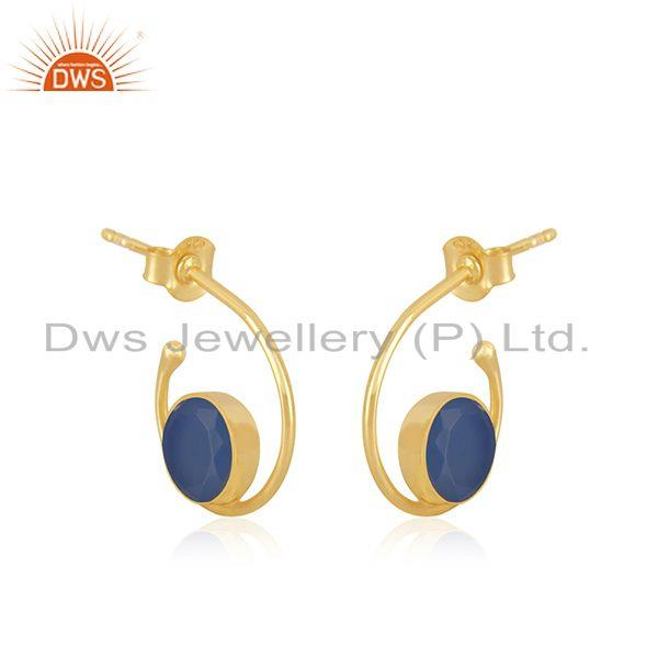 Exporter Blue Chalcedony Gemstone Gold Plated 925 Silver Hoop Earring Manufacturer