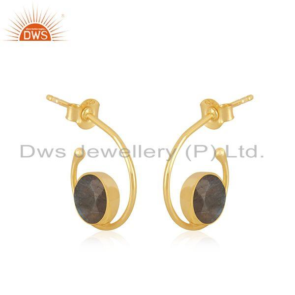 Exporter Yellow Gold Plated 925 Silver Labradorite Gemstone Hoop Earring Wholesale