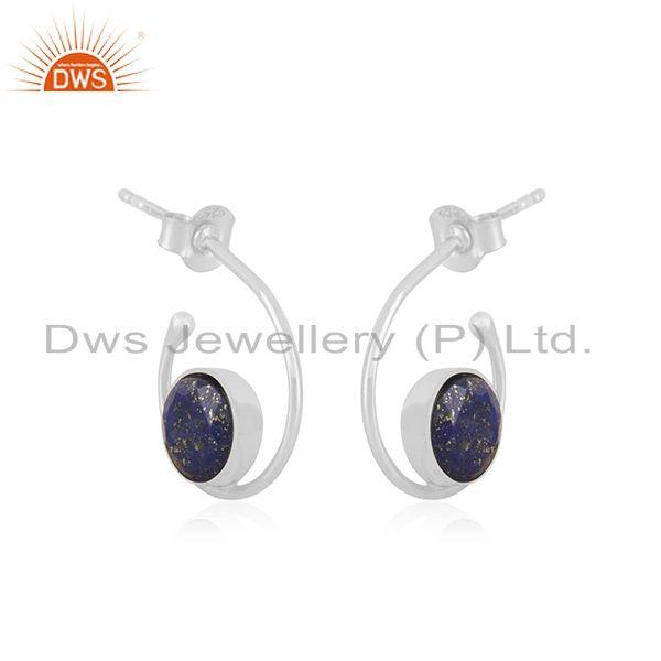 Exporter Genuine Lapis Lazuli Gemstone Fine Sterling 92.5 Mark Silver Girls Hoop Earring