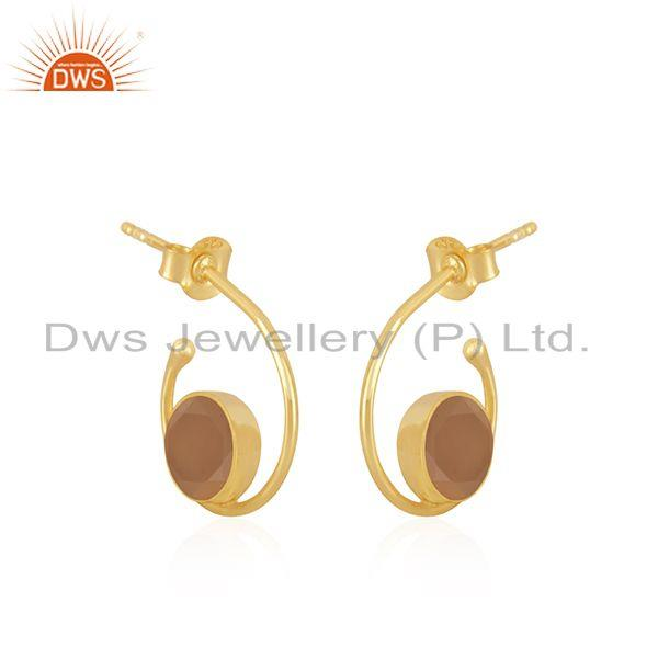 Exporter Rose Chalcedony Gemstone 925 Silver Gold Plated Hoop Earring For Womens Jewelry