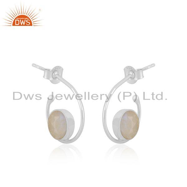 Exporter Rainbow Moonstone White Sterling Silver Hoop Earring Wholesale SUpplier