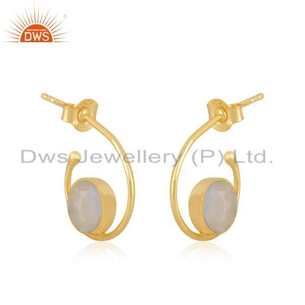 Exporter Natural Rainbow Moonstone Yellow Gold Plated 925 Sterling Silver Hoop Earring