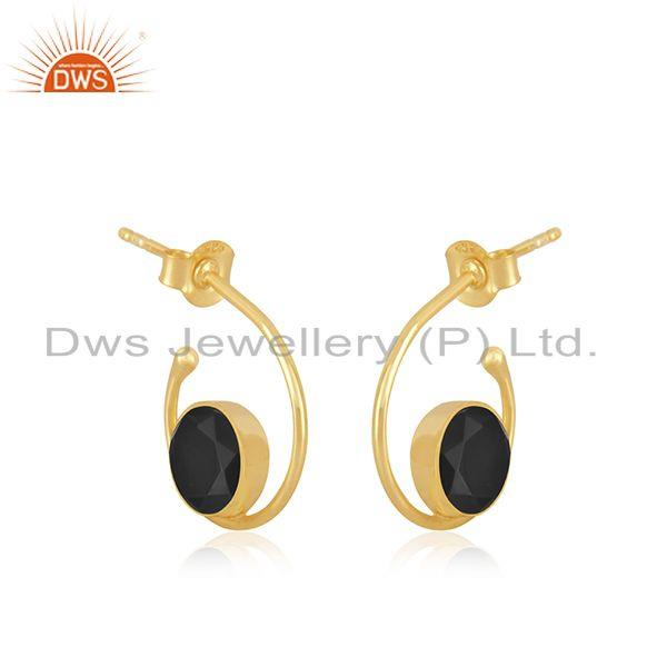 Exporter Black Onyx Gemstone 925 Sterling Silver Yellow Gold Plated Hoop Earring Supplier