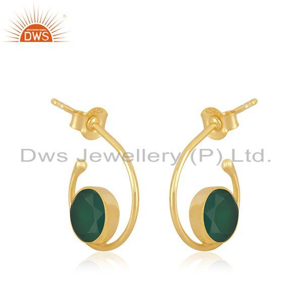 Exporter GReen Onyx Gemstone Sterling Silver Yellow Gold Plated Hoop Earring Wholesaler