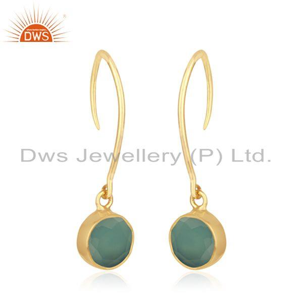 Exporter Aqua Chalcedony Gemstone Yellow Gold Plated Sterling Silver Earring Manufacturer