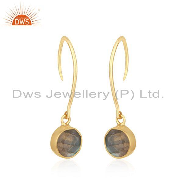 Exporter Labradorite Gemstone Yellow Gold Plated 925 Silver Womens Earring Wholesale