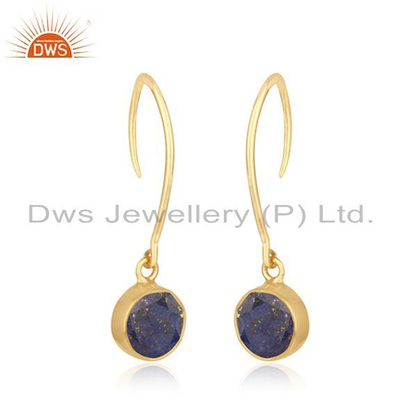 Exporter Natural Lapis Lazuli Gemstone Yellow Gold Plated 925 Silver Earring Manufacturer