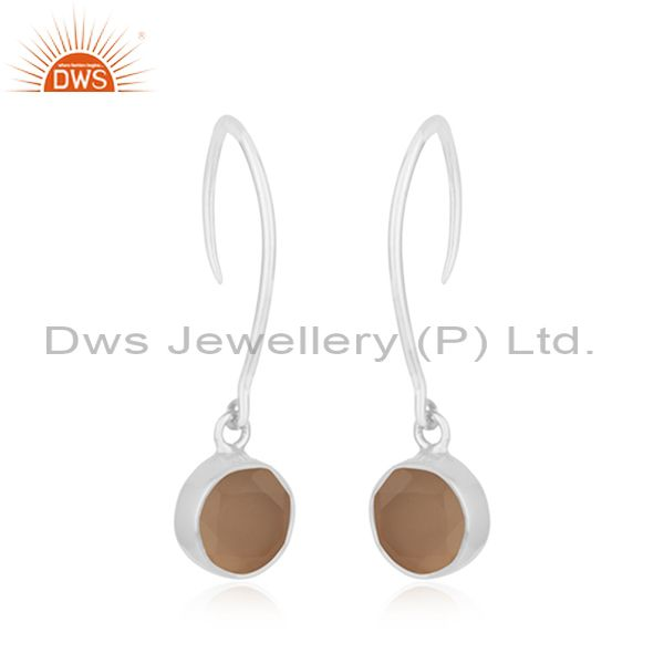 Exporter Rose Chalcedony Gemstone 925 Sterling Fine Silver Earring Jewelry In Jaipur