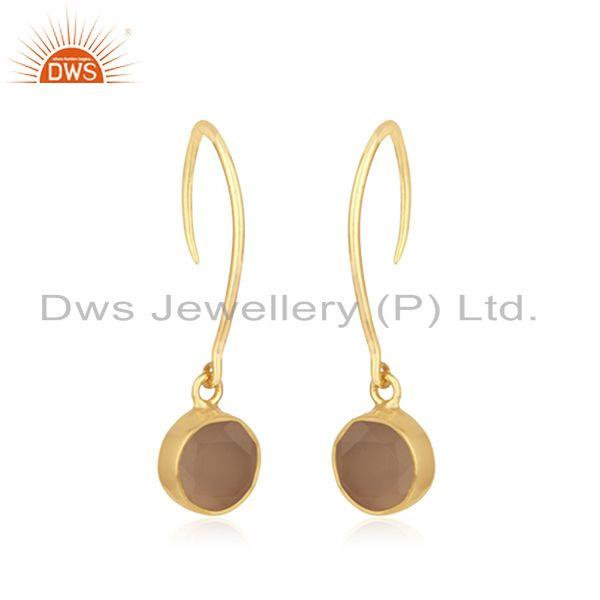 Exporter Yellow Gold Plated Sterling Silver Rose Chalcedony Gemstone Earring Manufacturer