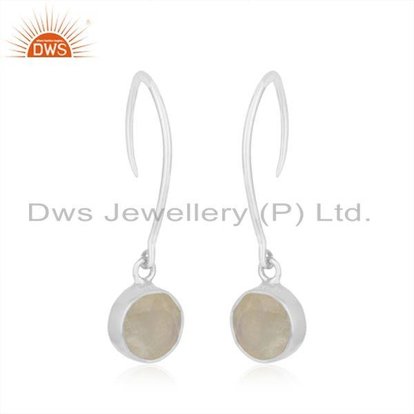 Exporter Natural Rainbow Moonstone Fine Sterling Silver Womens Earring Jewelry Wholesale