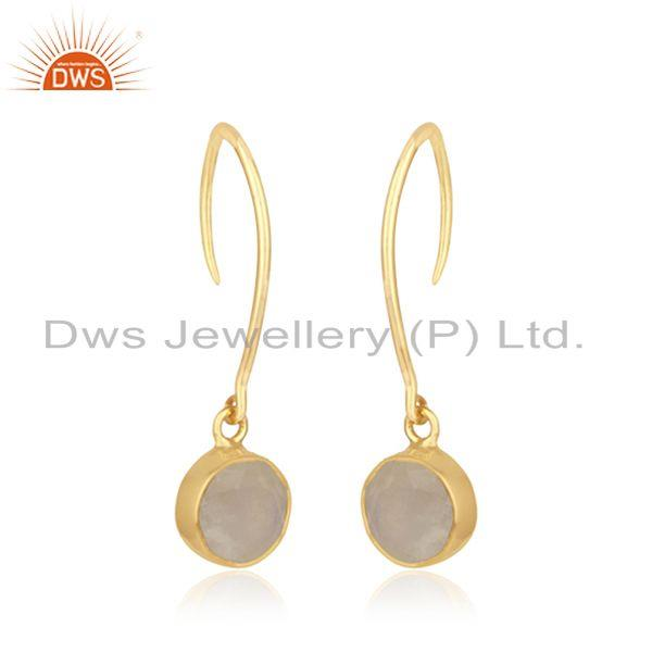 Exporter Rainbow Moonstone Yellow Gold Plated Sterling Silver Earring Wholesaler