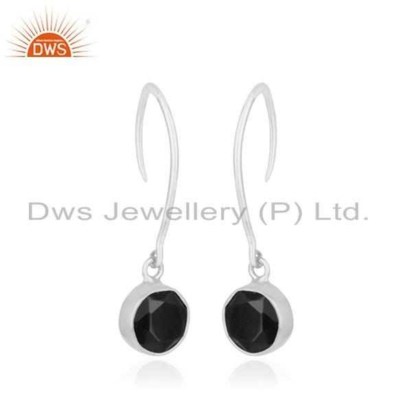 Exporter Black Onyx Gemstone 925 Sterling Silver Earring Jewelry Manufacturer in Jaipur