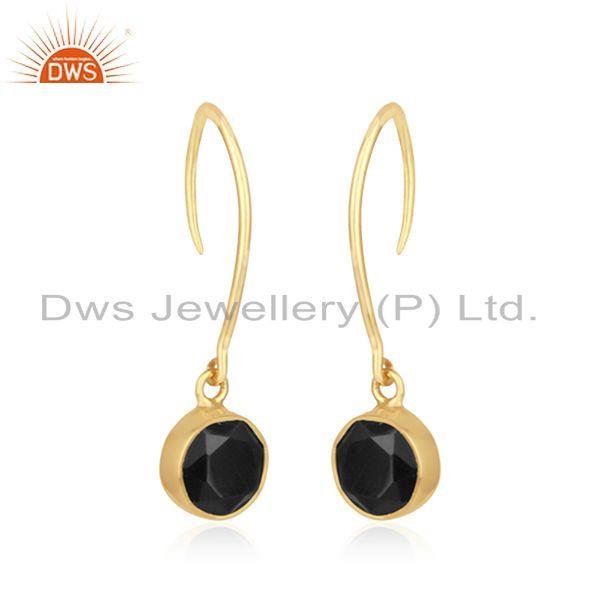 Exporter Black Onyx Gemstone 925 Silver Yellow Gold Plated Earrings For Girls Jewelry