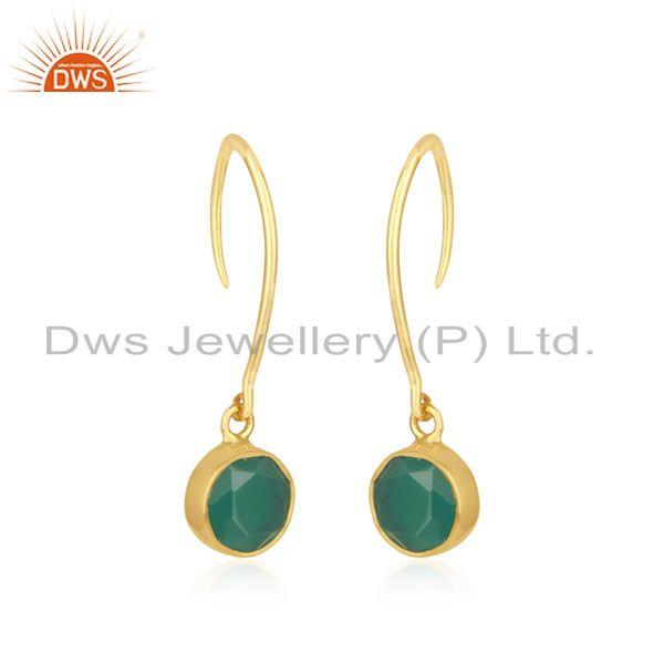 Exporter Green Onyx Gemstone Sterling Silver Gold Plated Earrings Jewelry for Womens