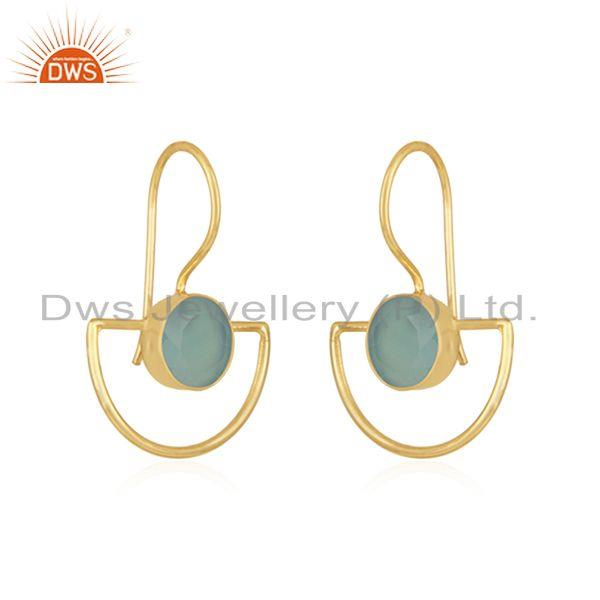 Exporter Aqua Chalcedony Gemstone Gold Plated 925 Silver Earring Manufacturer India