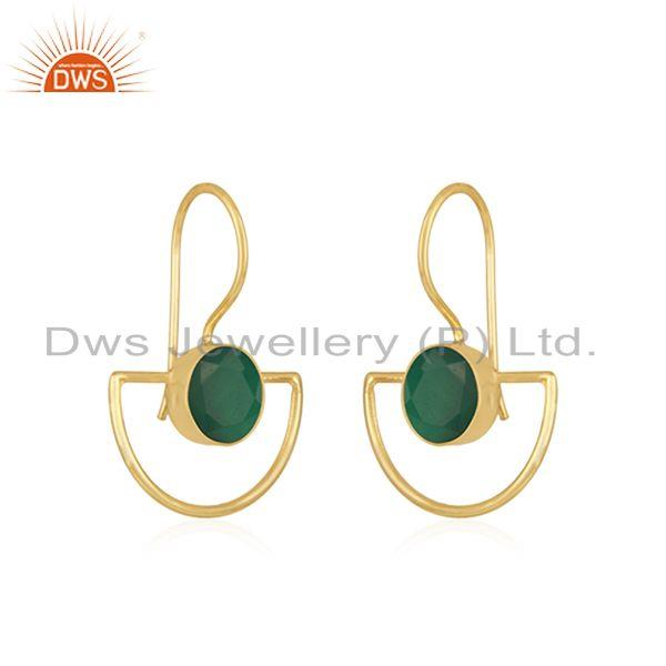 Exporter Green Onyx Gemstone 925 Silver Gold Plated Girls Earring Jewelry Supplier