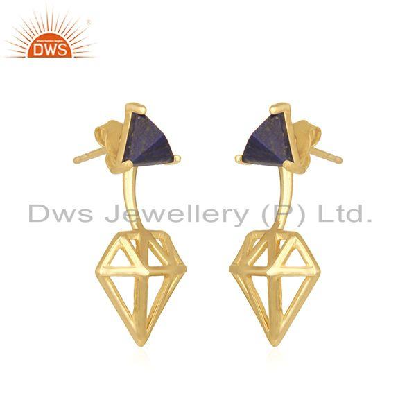 Exporter Diamond Shape Gold Plated 925 Silver Lapis Gemstone Stud Earring Manufacturer