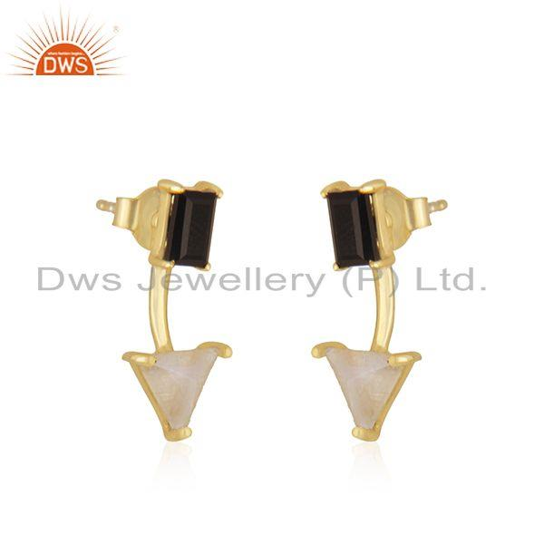 Exporter Black Onyx and Rainbow Moonstone Gold Plated 925 Silver Stud Earring Wholesale
