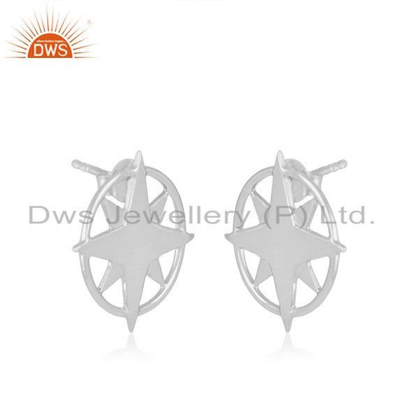 Exporter 925 Sterling Silver Designer Compass Stud Earrings For Girls Jewellery