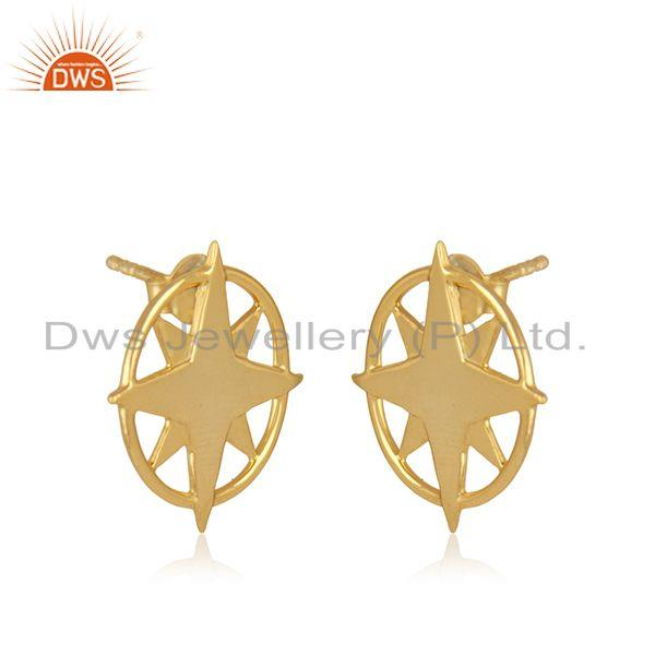 Exporter Yellow Gold Plated 925 Sterling Silver Compass Stud Earrings Manufacturer