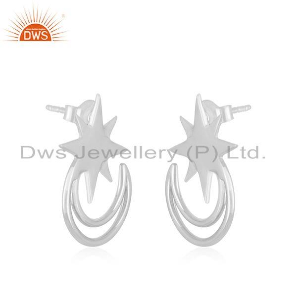Exporter Star and Moon Design Muslim Religous Charm 925 Silver Stud Earring Wholesale