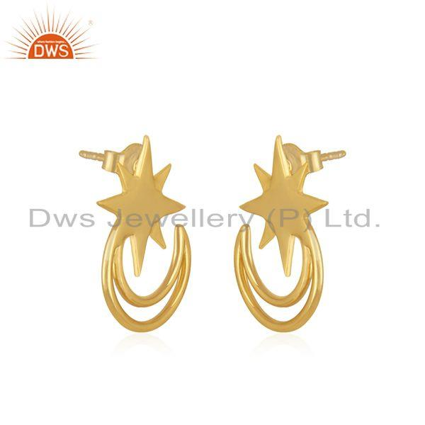 Exporter Star and Moon Yellow Gold Plated 925 Silver Religious Stud Earring Wholesale