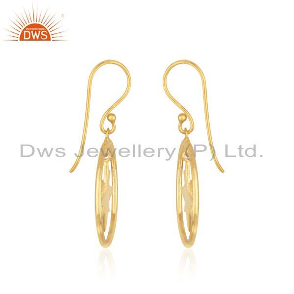 Exporter Yellow Gold Plated Sterling Silver Designer Compass Earring Manufacturer