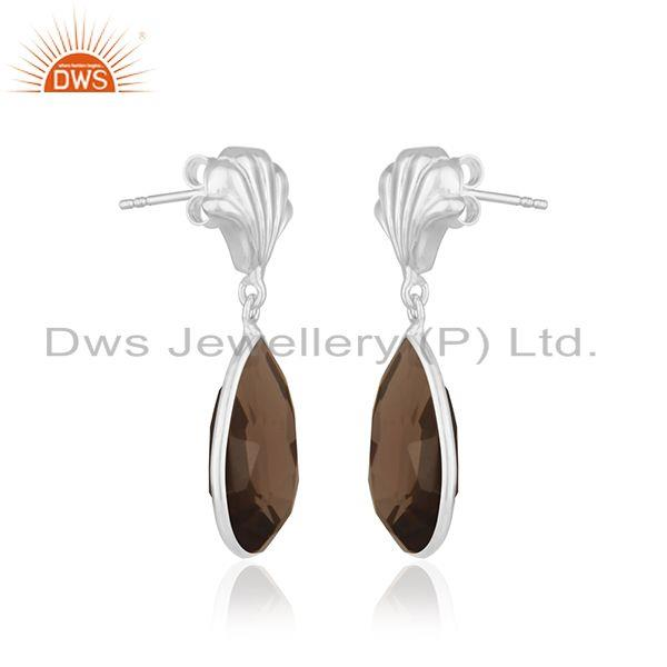 Exporter Smoky Quartz Fine Sterling Silver Drop Earring Manufacturer of Indian Jewellery