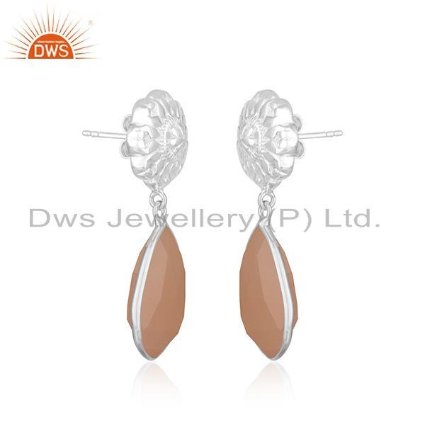 Exporter Rose Chalcedony Gemstone Floral Design Sterling Fine Silver Drop Earring