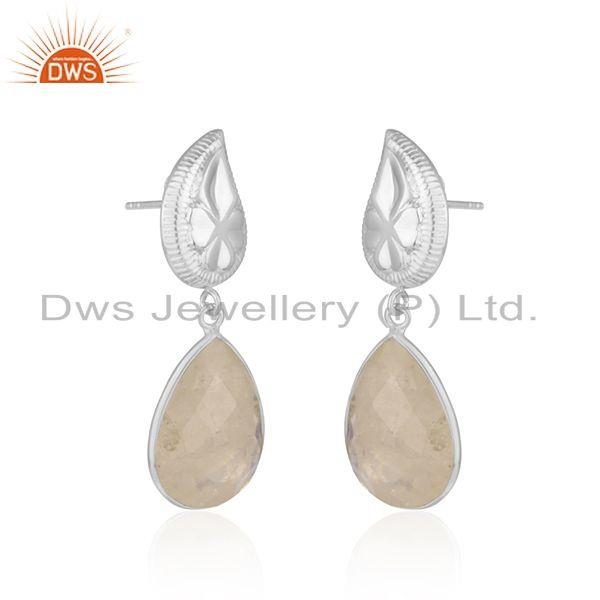 Exporter Floral Design 92.5 Silver Mark Rainbow Moonstone Drop Earring Manufacturer INdia