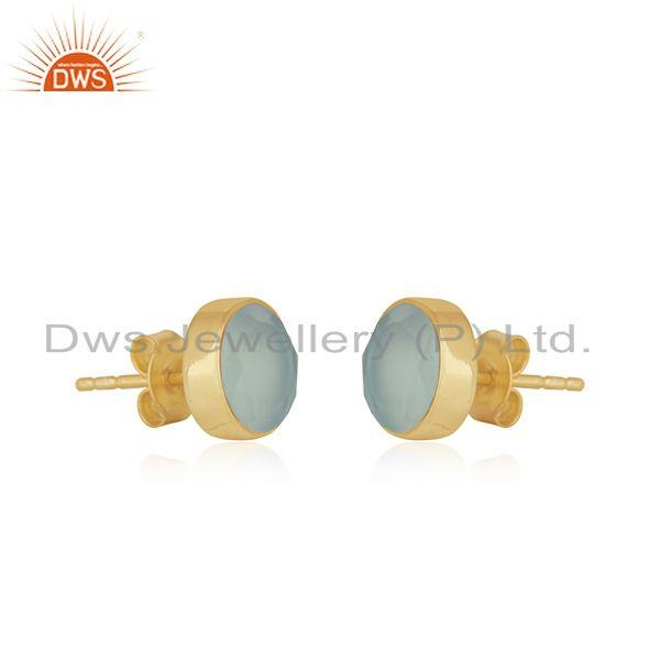 Exporter Yellow Gold Plated Sterling Silver Chalcedony Gemstone Stud Earrings