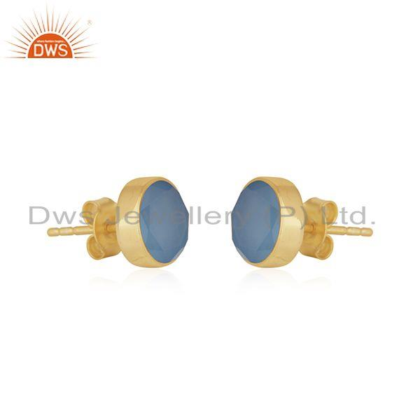 Exporter Simple Round Design Chalcedony Gold Plated 925 Silver Stud Earrings