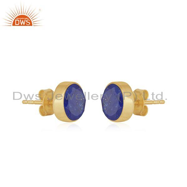 Exporter Natural Lapis Lazuli Gemstone Gold Plated Sterling Silver Earrings