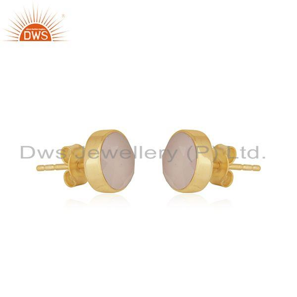 Exporter Rose Chalcedony Gemstone Gold Plated Sterling Silver Stud Earrings
