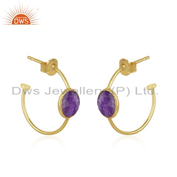Exporter Gold Plated 925 Silver Aventurine Natural Gemstone Earrings Jewelry