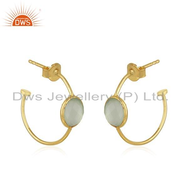 Exporter Chalcedony Gemstone 18k Gold Plated Girls Silver Hoop Earrings Jewelry