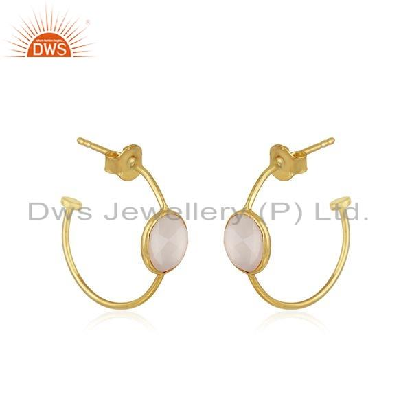 Exporter Rose Chalcedony Gemstone Gold Plated Silver Hoop Earrings Jewelry