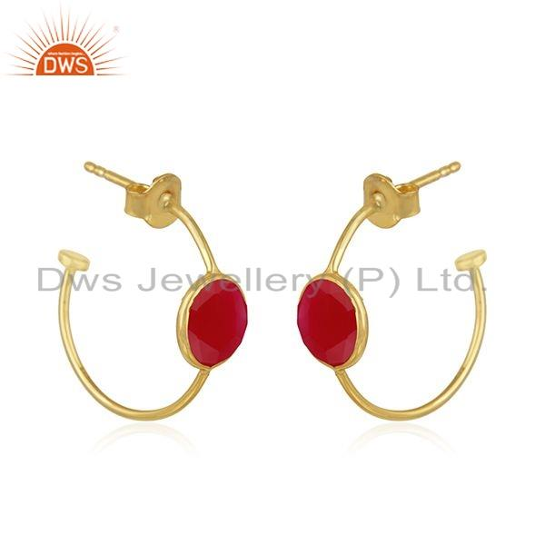 Exporter Pink Chalcedony Gemstone Gold Plated 925 Silver Hoop Earrings Jewelry