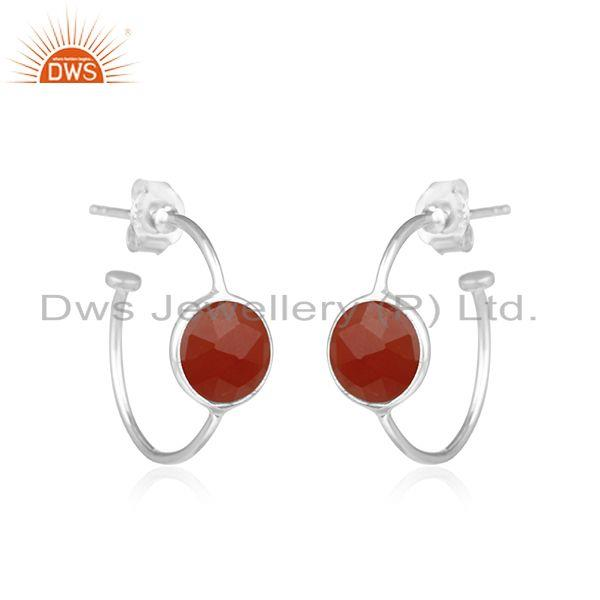 Exporter Natural Red Onyx Gemstone Handmade Sterling Fine Silver Hoop Earrings