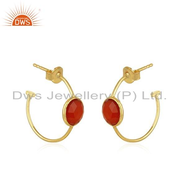 Exporter Natural Red Onyx Gemstone Gold Plated Silver Hoop Earrings Jewelry