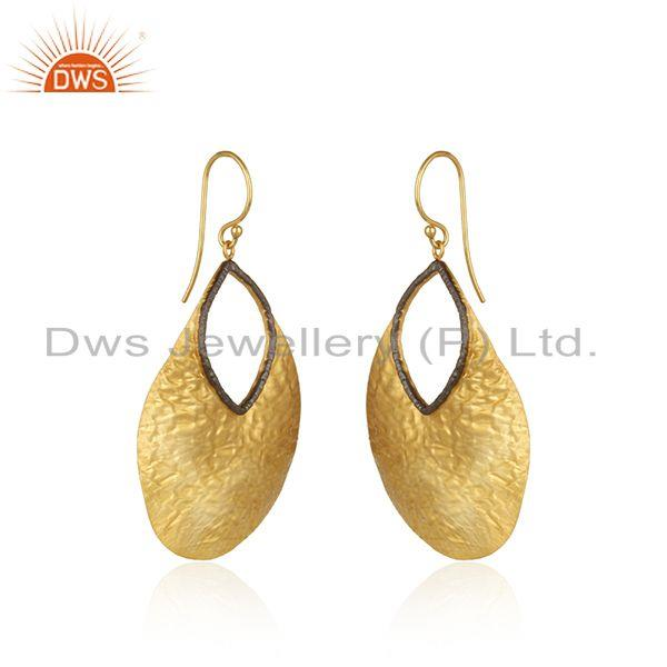 Exporter Hammered Plain Sterling Silver Gold Plated Earrings Manufacturer