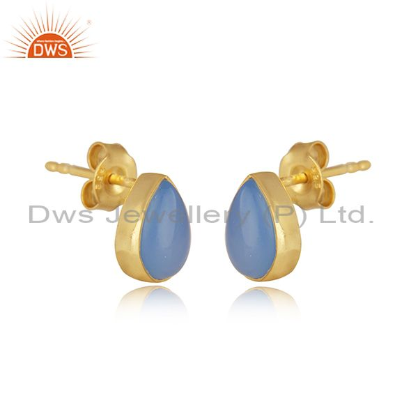 Exporter Blue Chalcedony Gemstone Gold Plated Sterling Silver Stud Earrings