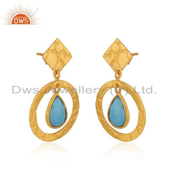 Exporter Handcrafted 925 Silver Yellow Gold Plated Turquoise Gemstone Earrings