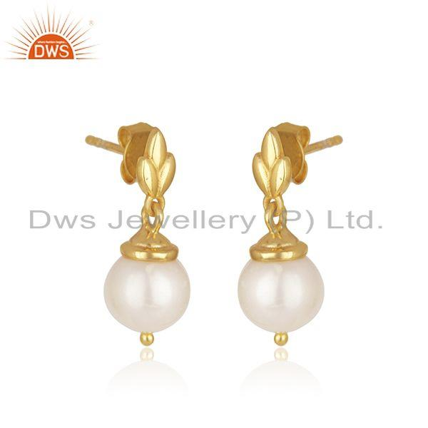 Exporter Natural Pearl Yellow Gold Plated Sterling Silver Designer Earrings