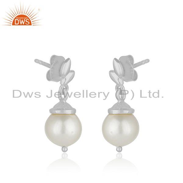 Exporter Leaf Design Sterling Fine 925 Silver Natural Pearl Earrings for Womens