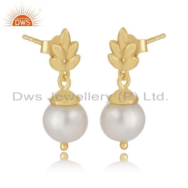 Exporter Customized Sterling Silver Gold Plated South Sea Pearl Girls Earrings