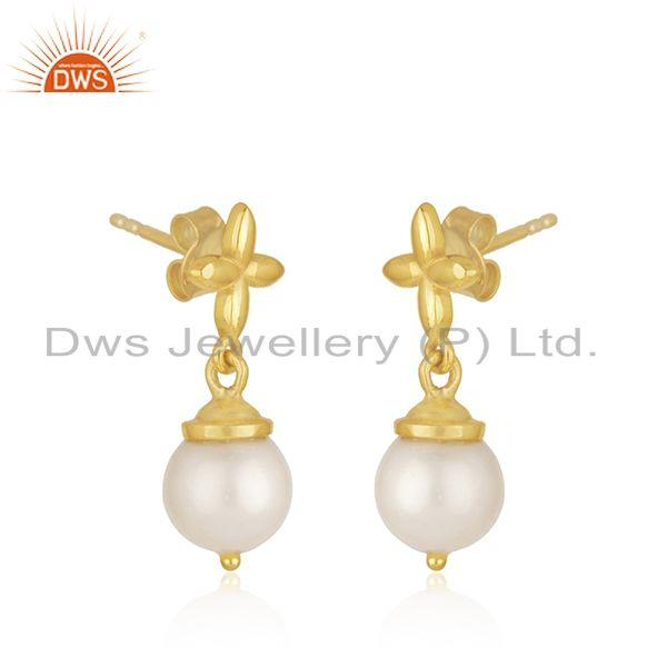 Exporter Natural South Sea Pearl Gemstone Gold Plated Sterling Silver Earrings