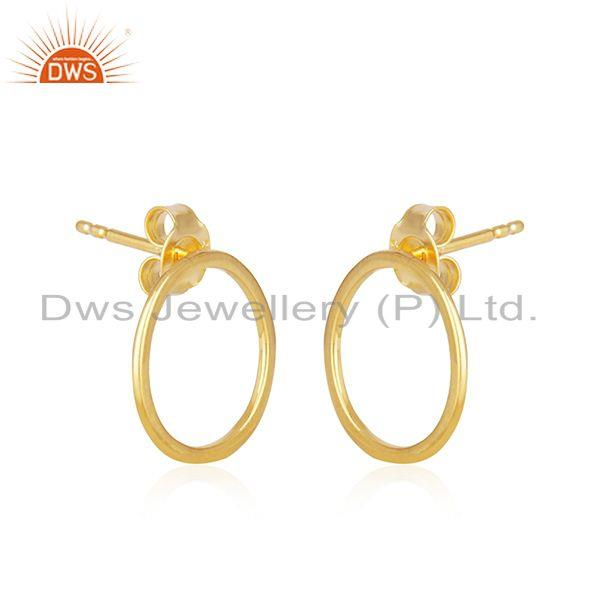 Exporter Handmade 18k Gold Plated Sterling Silver Round Stud Earrings Supplier